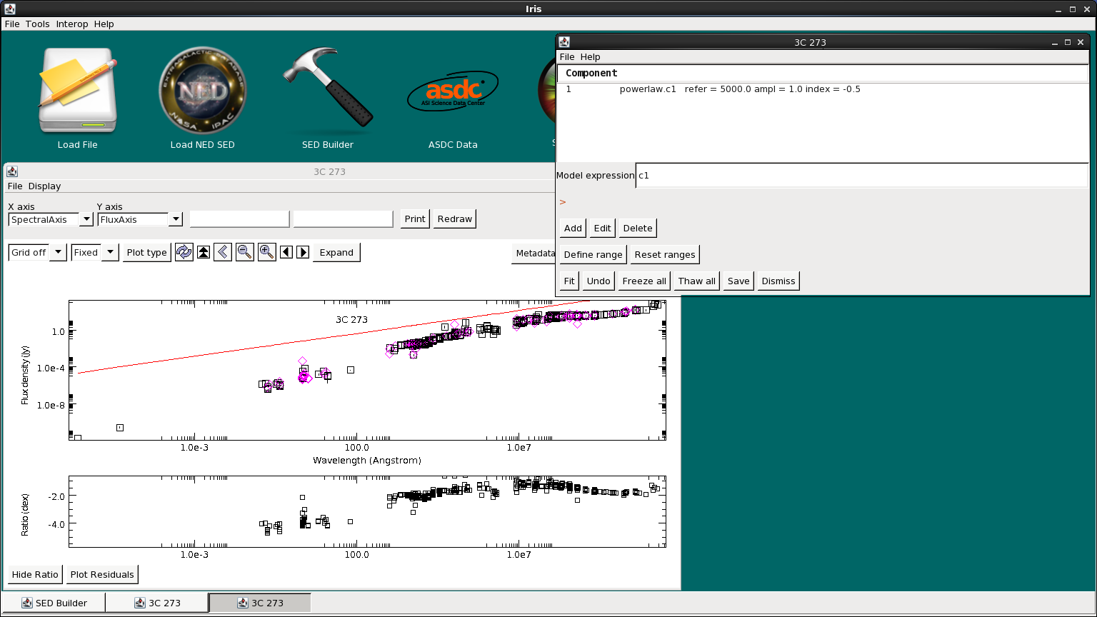 Modeling and Fitting SED Data in Iris - Iris